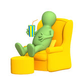 3d puppet, having a rest in a soft armchair. Objects over white Stock Images