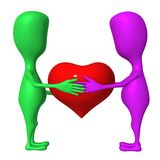 3d puppet hold heart between each other Stock Photography