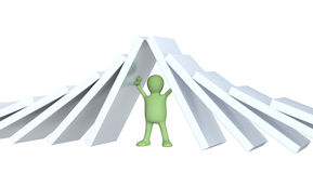 3d puppet, holding figures of a dominoes Stock Photography