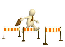 3d puppet, jumping through a barrier. 3d businessman - puppet, jumping through a barrier Stock Images