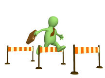 3d puppet, jumping through a barrier. 3d businessman - puppet, jumping through a barrier Stock Photo