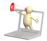 3d puppet with laptop and megaphone Stock Image