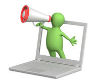 3d puppet with laptop and megaphone. Isolated over white Stock Photos