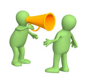 3d puppet with an megaphone. 3d puppet with an orange megaphone Royalty Free Stock Images