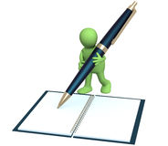 3d puppet with a pen Royalty Free Stock Photo