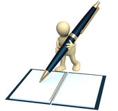 3d puppet with a pen Royalty Free Stock Images