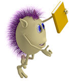 3D puppet with purple hairs holding book Royalty Free Stock Images