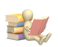 3d puppet, reading the book. Object over white royalty free illustration