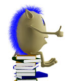 3D puppet sitting on books Royalty Free Stock Photography