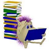 3D puppet sitting before pile of books. 3D puppet sitting before big pile of books Royalty Free Stock Image
