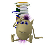 3D puppet sitting before pile of books. 3D puppet sitting before big pile of books Royalty Free Stock Photos
