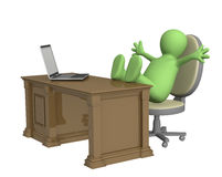3d puppet, thrown foots on office table Stock Photos