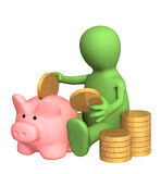 3d puppet who is saving money in piggy bank Royalty Free Stock Photo