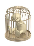 3d puppet, worth in a gold cage Stock Photography