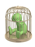 3d puppet, worth in a gold cage Stock Photo