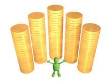 3d puppet, worth near to columns of gold coins. Joyful 3d puppet, worth near to columns of gold coins. Objects over white Stock Photo