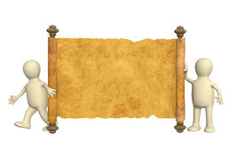 3d puppets with the ancient manuscript Stock Image