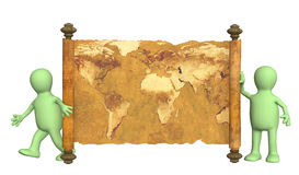 3d puppets with the ancient map Royalty Free Stock Photos
