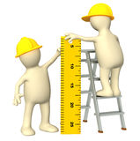 3d puppets - builders with ruler. 3d builders with ruler - over white Royalty Free Stock Image