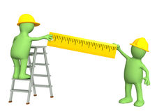 3d puppets - builders with ruler. 3d builders with ruler. Isolated over white Royalty Free Stock Photo