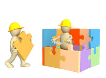 3d puppets building the house Royalty Free Stock Photo