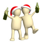 3d puppets celebrating Christmas Stock Photo