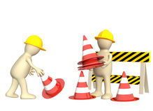 3d puppets with emergency cones Stock Photo