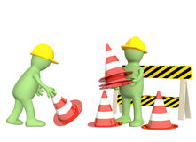 3d puppets with emergency cones Stock Photos