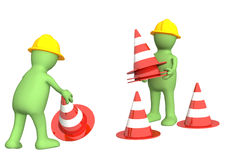 3d puppets with emergency cones Stock Images