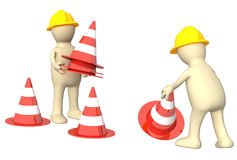 3d puppets with emergency cones Royalty Free Stock Images