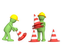 3d puppets with emergency cones Stock Image