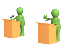 3d puppets, participating political debate. 3d people - puppets, participating political debate. Object over white vector illustration