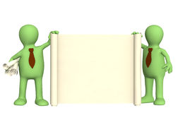 3d puppets with roll of document. Two 3d puppets with roll of document Royalty Free Stock Images