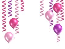3d purple ballons. 3d model purple ballons on white background Stock Photo