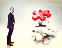 3d puzzel en mens Stock Afbeelding