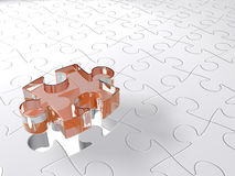3d puzzle. Transparent 3D puzzle piece coming down into last free place Stock Illustration