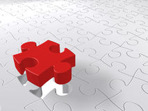 3D puzzle. Piece coming down into last free place Royalty Free Illustration