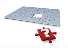 3D Puzzle. With question mark in one piece vector illustration
