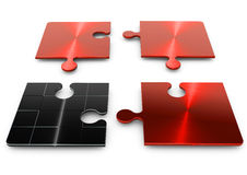 3d puzzle. In four separate pieces of red and black royalty free illustration