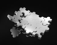 3d puzzle. White 3d puzzle on reflective black surface royalty free illustration