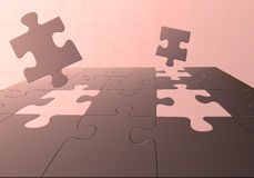 3D puzzle. Puzzle in 3D with floating parts background Stock Image