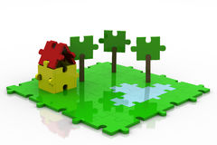 3D Puzzle Backyard Colorful Stock Images