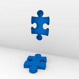 3d puzzle blue wall Stock Image