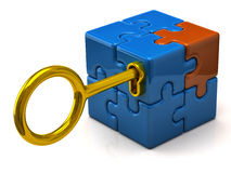 3d puzzle cube. Security concept. Puzzle cube and golden key Royalty Free Stock Images