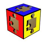 3D puzzle within a cube Stock Photo