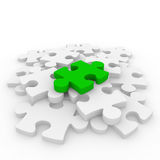 3d puzzle green white Stock Photos