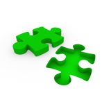 3d puzzle green white Stock Image