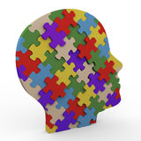 3d puzzle head. 3d render of human head made up of puzzle pieces Royalty Free Stock Photos