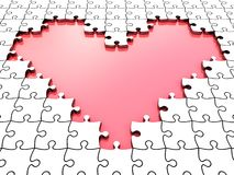 3D puzzle heart. With white puzzle pieces stock illustration