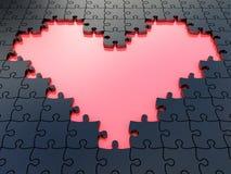 3D puzzle heart with. Black puzzle pieces Stock Images